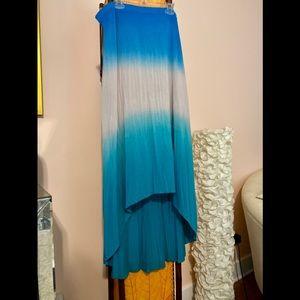 Sea Blue & Turquoise Stretch Hi-Lo Resort Skirt L